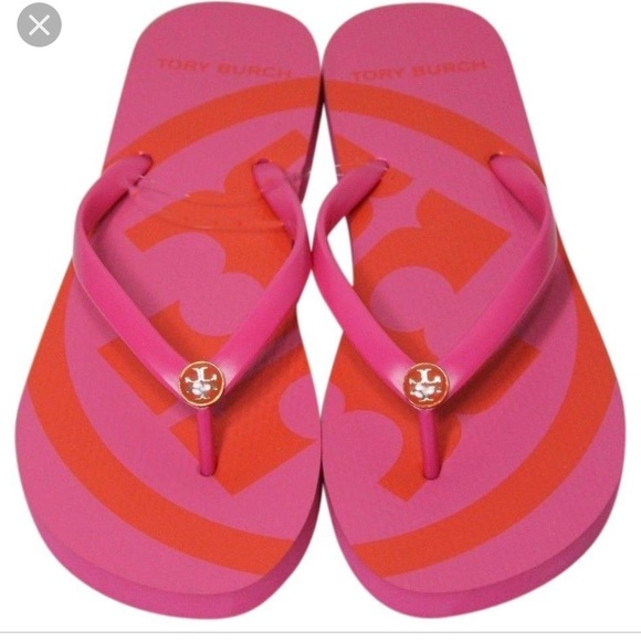 Tory Burch Pink Orange Logo Flip Flops
